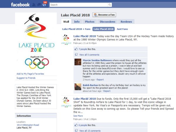 Lake Placid 2018 Facebook